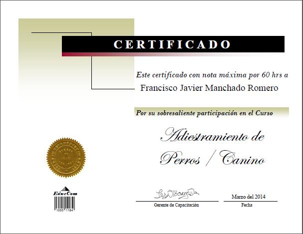 Certificado Diploma Adiestramiento Canino Felino