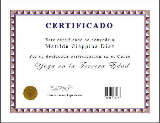 Diploma Certificado de Yoga