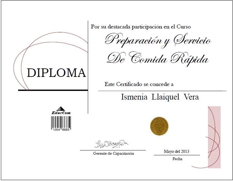 Certificado Diploma Cocina Rapida Preparacion