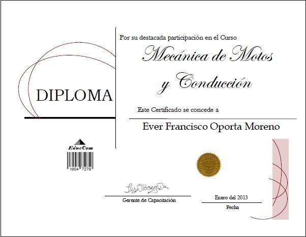Diploma Certificado Mecanica Motos