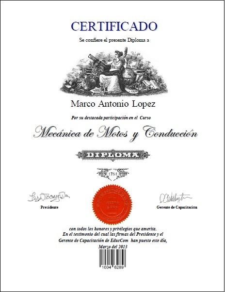 Certificado Diploma Mecanica