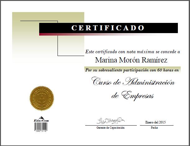 Diploma Certificado de Administracion de Empresas